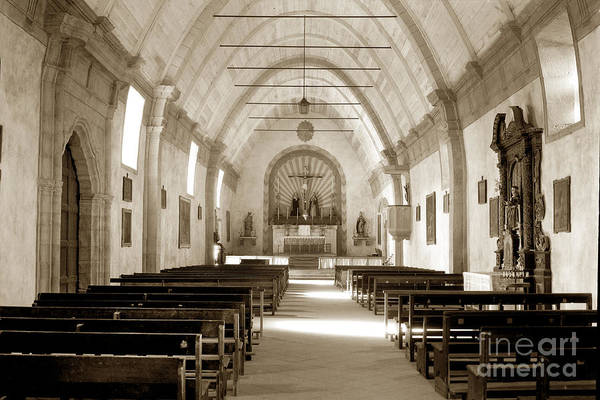 Photograph - Interior Carmel Mission Chapel Looking Towards The Altar Circa 1937 by California Views Archives Mr Pat Hathaway Archives