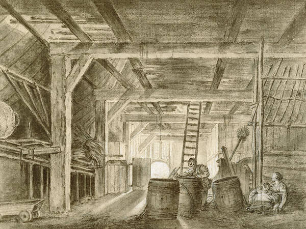 French Artist Drawing - Interior Of A Barn With A Family Of Coopers by Francois Boucher