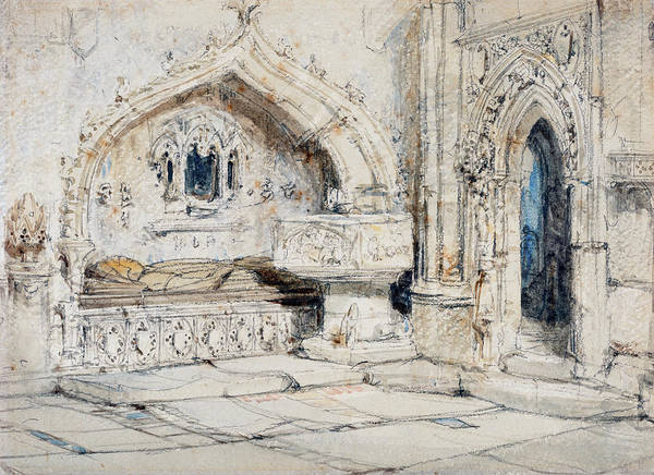 Painting -  Interior Of A Church With A Wall Tomb And Medieval Font by Louis Haghe
