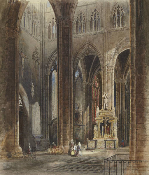 Painting - Interior Of Amiens Cathedral by David Roberts
