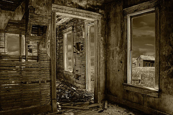 Photograph - Interior Of An Abandoned Farm House In Sepia Tone by Randall Nyhof