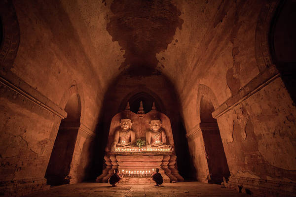 interior of an old temple in Bagan, Myanmar Art Print by