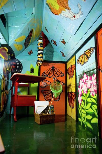 Wall Art - Painting - Interior Of Monarch Butterlfies Take Flight Playhouse For Raise The Roof by Genevieve Esson