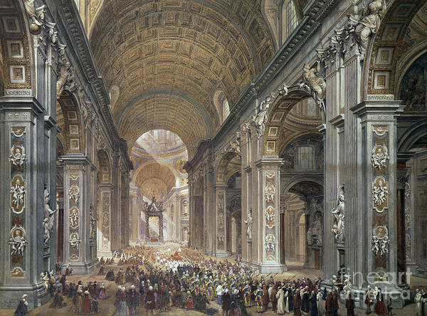 Wall Art - Painting - Interior Of St Peter's, Rome, 1867 by Louis Haghe