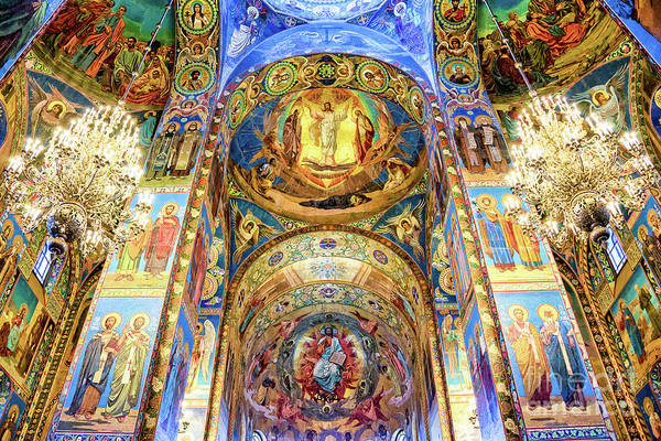 Mosaic Photograph - Interior Of The Church Of The Savior On Spilled Blood by Delphimages Photo Creations