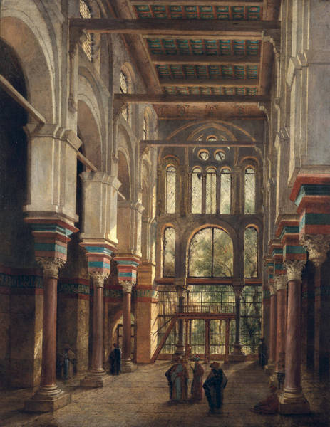 Archway Painting - Interior Of The Mosque Of El Mooristan In Cairo by Adrien Dauzats