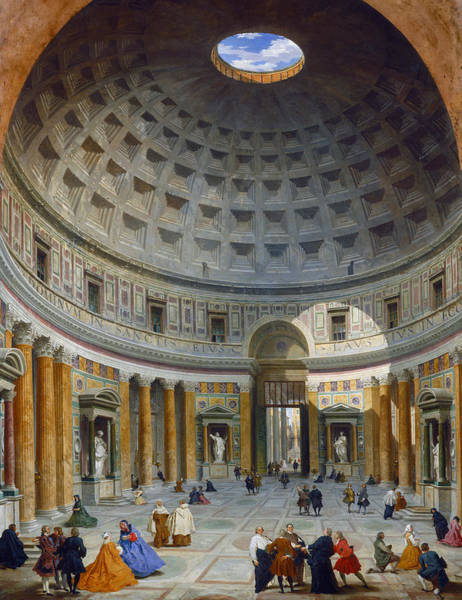 Dome Painting - Interior Of The Pantheon by Giovanni Paolo Panini