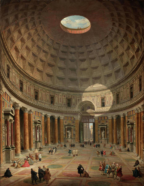 Collapse Painting - Interior Of The Pantheon, Rome, 1747 by Giovanni Paolo Panini