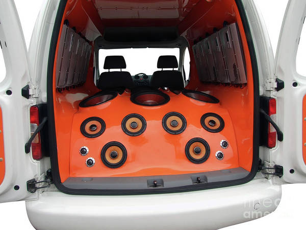Car Stereo Photograph - Interior Of Van With Power Music Audio System by Goce Risteski