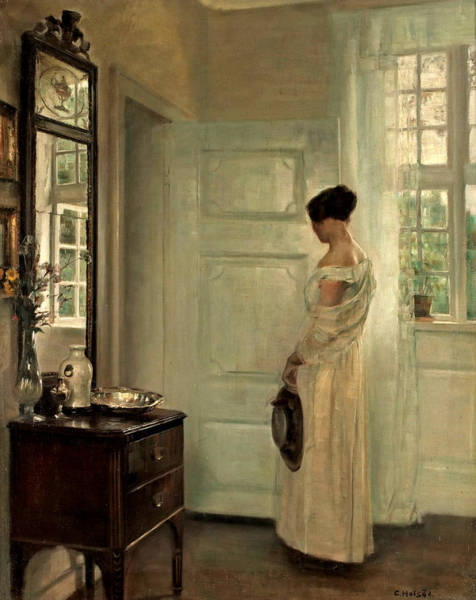 Wall Art - Painting - Interior With Ida In A White Dress by Vilhelm Hammershoi
