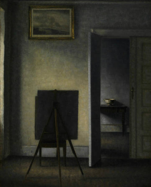 Painting - Interior With The Artist's Easel by Vilhelm Hammershoi