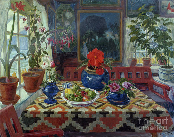 Nikolai Astrup Painting - Interior With A Big Blue Pot by O Vaering by Nikolai Astrup
