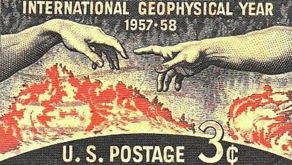Digital Art - International Geophysical Year Stamp by Robert Grubbs