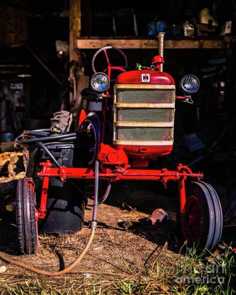 Photograph - International Harvester Red Vintage Tractor Wolcott Vermont by Edward Fielding