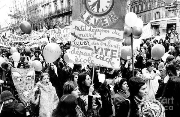 Placard Photograph - International March Of The Women In Paris November 20, 1971 by French School