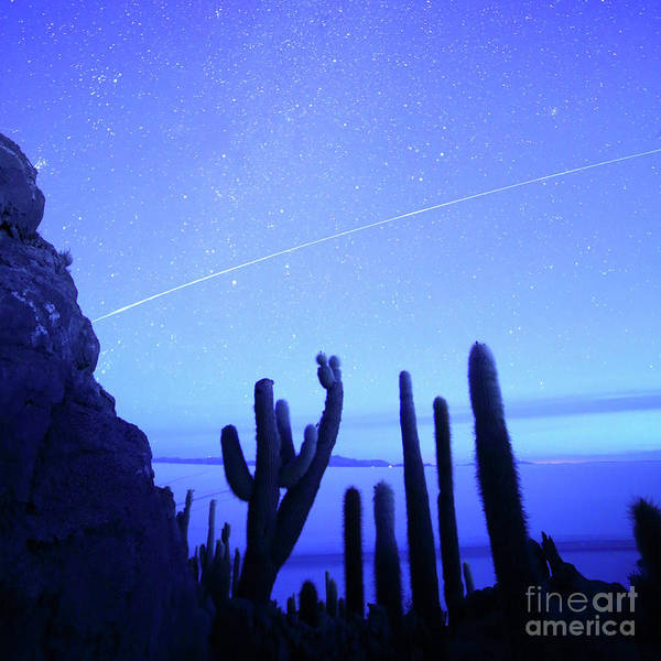 Photograph - International Space Station Above The Salar De Uyuni Bolivia by James Brunker