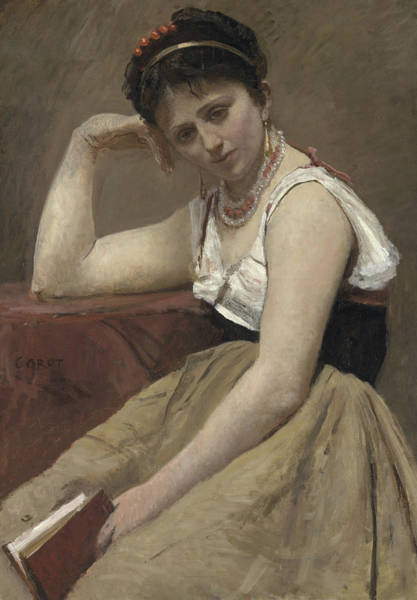 Wall Art - Painting - Interrupted Reading by Jean Baptiste Camille Corot