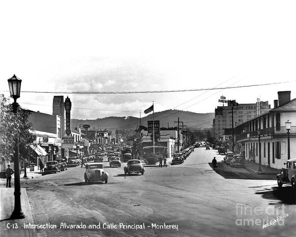 Photograph - Intersection Of Alvarado And Calle Principal St.s, Monterey Circa 1940 by California Views Archives Mr Pat Hathaway Archives