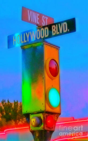 Traffic Signals Painting - Intersection Of Hollywood And Vine by Crystal Loppie