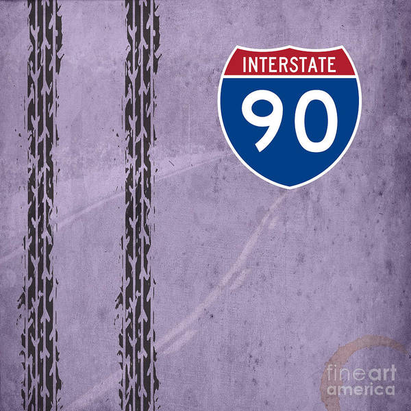 Interstate 5 Wall Art - Digital Art - Interstate 90 by Drawspots Illustrations