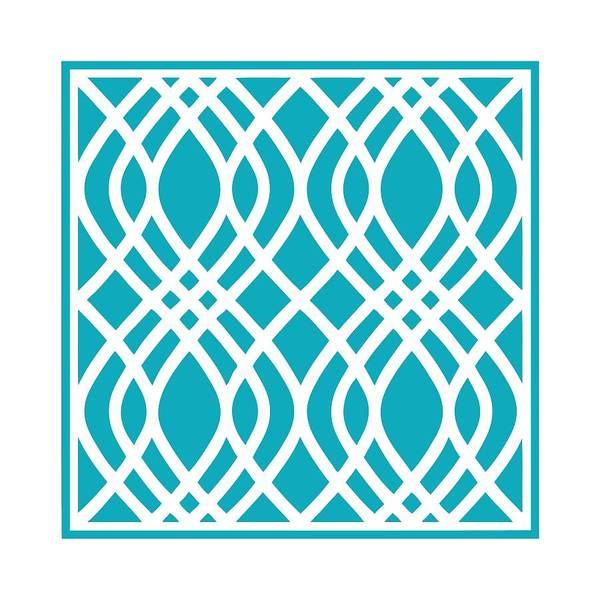 Robin's Egg Blue Digital Art - Intertwine Latticework With Border In Robin's Egg Blue by Custom Home Fashions