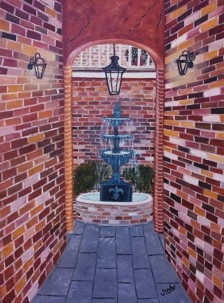 Wall Art - Painting - Into The Courtyard by Judy Jones