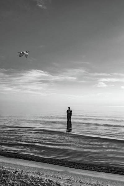 Sauble Beach Photograph - Into The Great Blue Yonder Bw by Steve Harrington