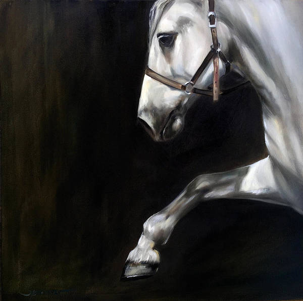 Dressage Painting - Into The Light by Mary Sparrow
