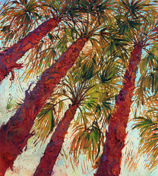 Palm Wall Art - Painting - Into The Palms - Diptych Left by Erin Hanson