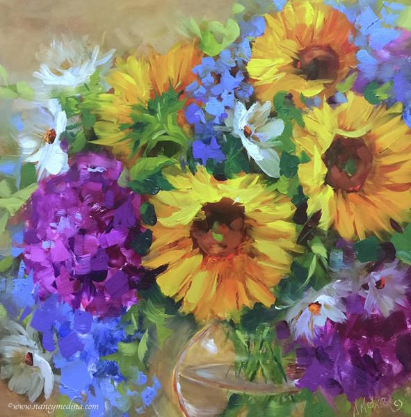 Into The Sky Sunflowers Art Print