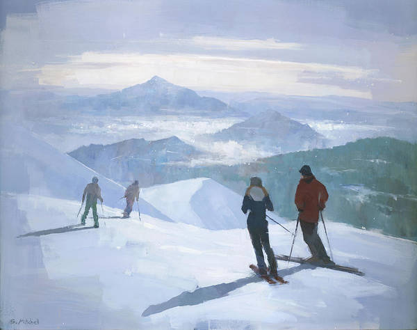 Skiing Painting - Into The Valley by Steve Mitchell