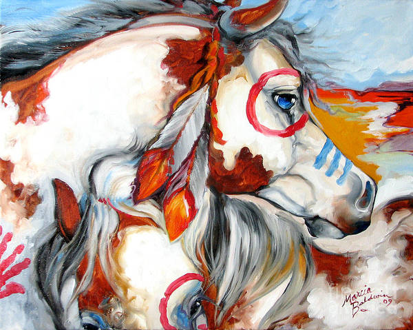 Painting - Into The West War Ponies by Marcia Baldwin