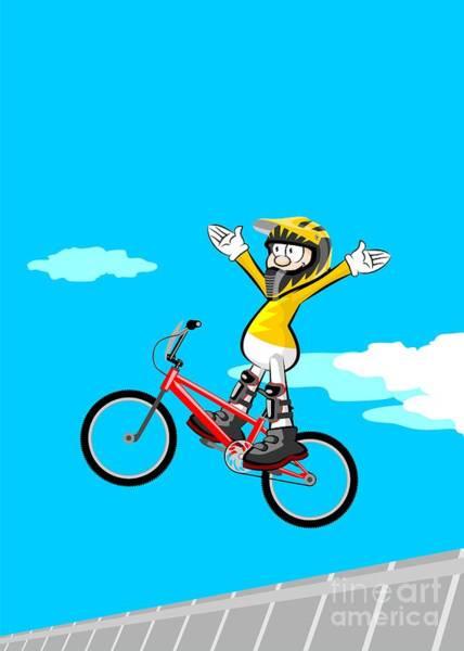 Digital Art - Intrepid Boy Jumping On His Bmx Bike by Daniel Ghioldi