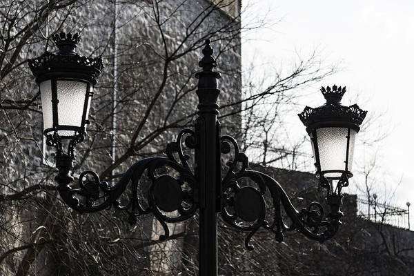 Photograph - Intricate Ironwork Streetlights - Black And White Retro Chic With Crowns by Georgia Mizuleva