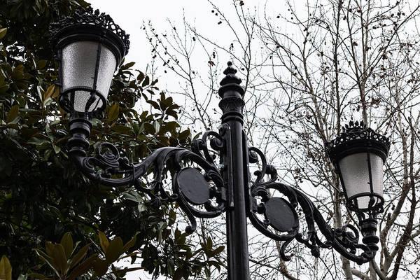 Photograph - Intricate Ironwork Streetlights On An Interesting Green And Gray Background by Georgia Mizuleva
