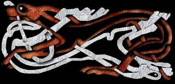 Genda Digital Art - Intwined Celtic Hounds by Brett Genda