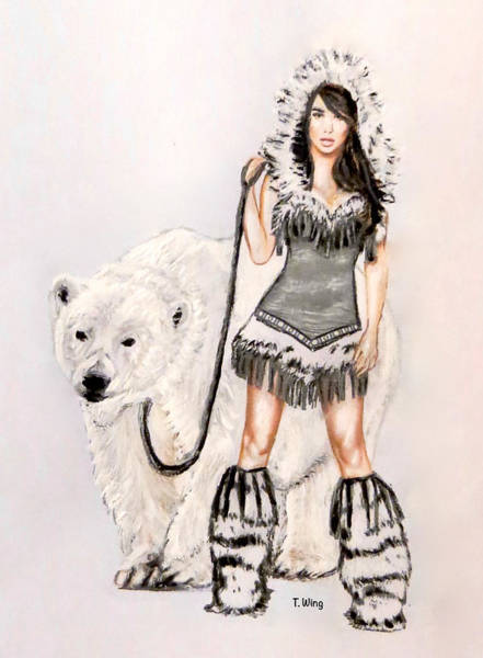 Inuit Painting - Inuit Pin-up Girl by Teresa Wing