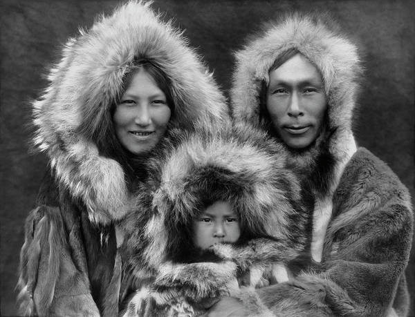 Ethnic Minority Photograph - Inupiat Family Portrait - Alaska 1929 by War Is Hell Store