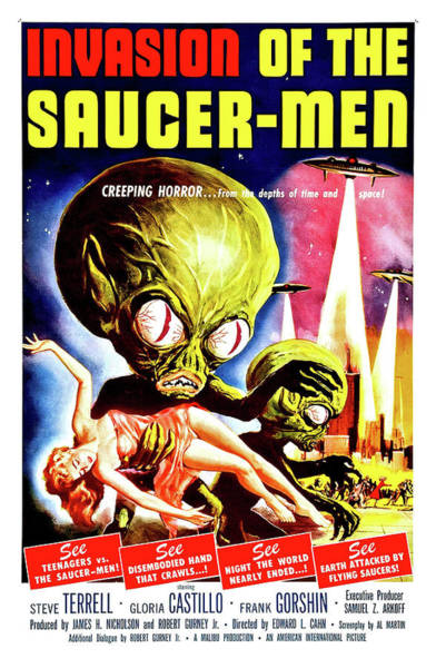 Saucer Painting - Invasion Of The Saucer Men, Sci Fi Horror Movie Poster by Long Shot