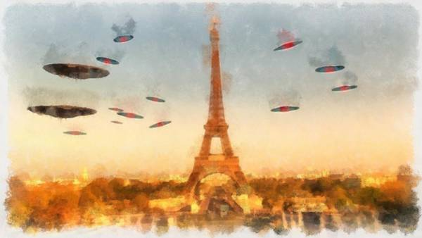 Abduction Painting - Invasion Paris by Esoterica Art Agency