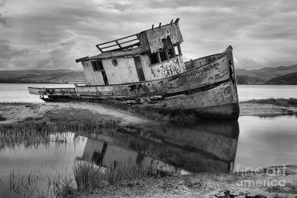 Pt. Reyes Photograph - Inveness Shipwreck Black And White by Adam Jewell
