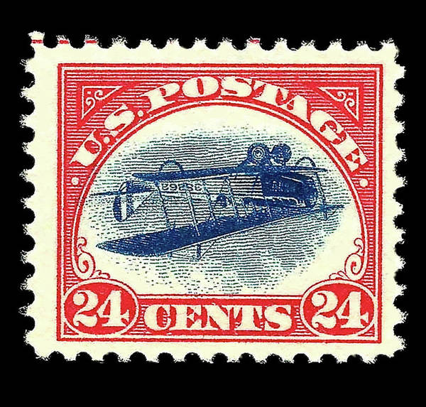 Wallpaper Mixed Media - Inverted Jenny, 24 Cent Stamp, 1918 by Thomas Pollart