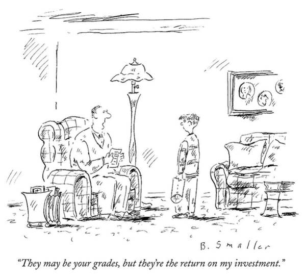 Fathers And Sons Drawing - Investment Return by Barbara Smaller