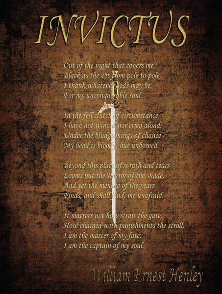 Poems Photograph - Invictus by Andrew Fare