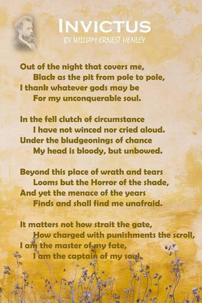 Wall Art - Painting - Invictus By William Ernest Henley V2 by Celestial Images