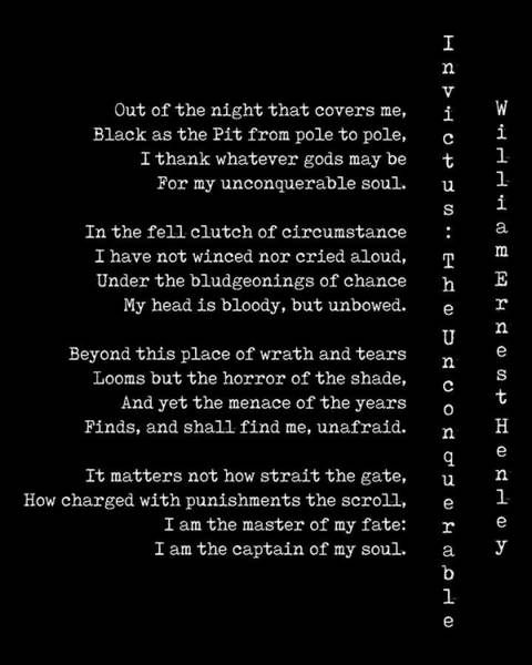 Reader Digital Art - Invictus - The Unconquerable By William Ernest Henley by Georgia Fowler