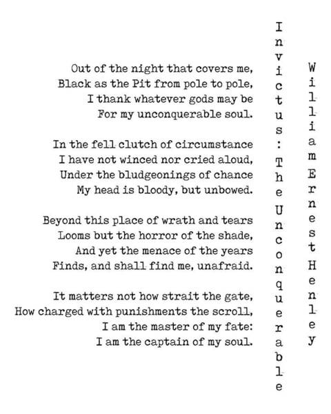 Reader Digital Art - Invictus - The Unconquerable By William Ernest Henley - White by Georgia Fowler