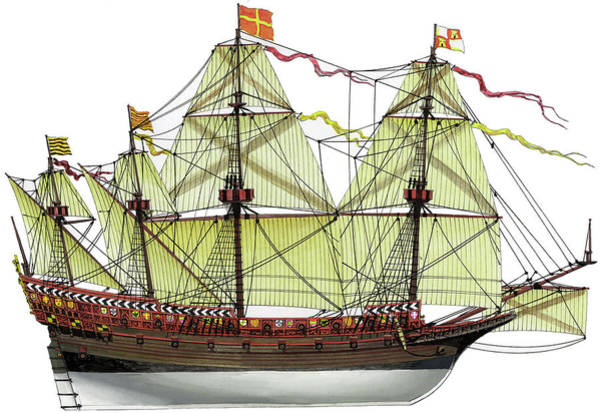 Wall Art - Drawing - Invincible Armada Galleon by The Collectioner