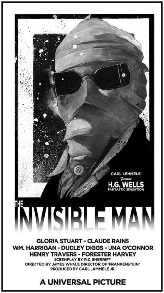 Mixed Media - Invisible Man Movie Poster 1933 by Sean Parnell