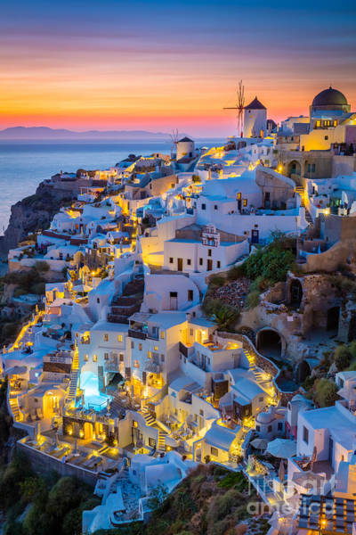 Travel Destinations Wall Art - Photograph - Oia Sunset by Inge Johnsson